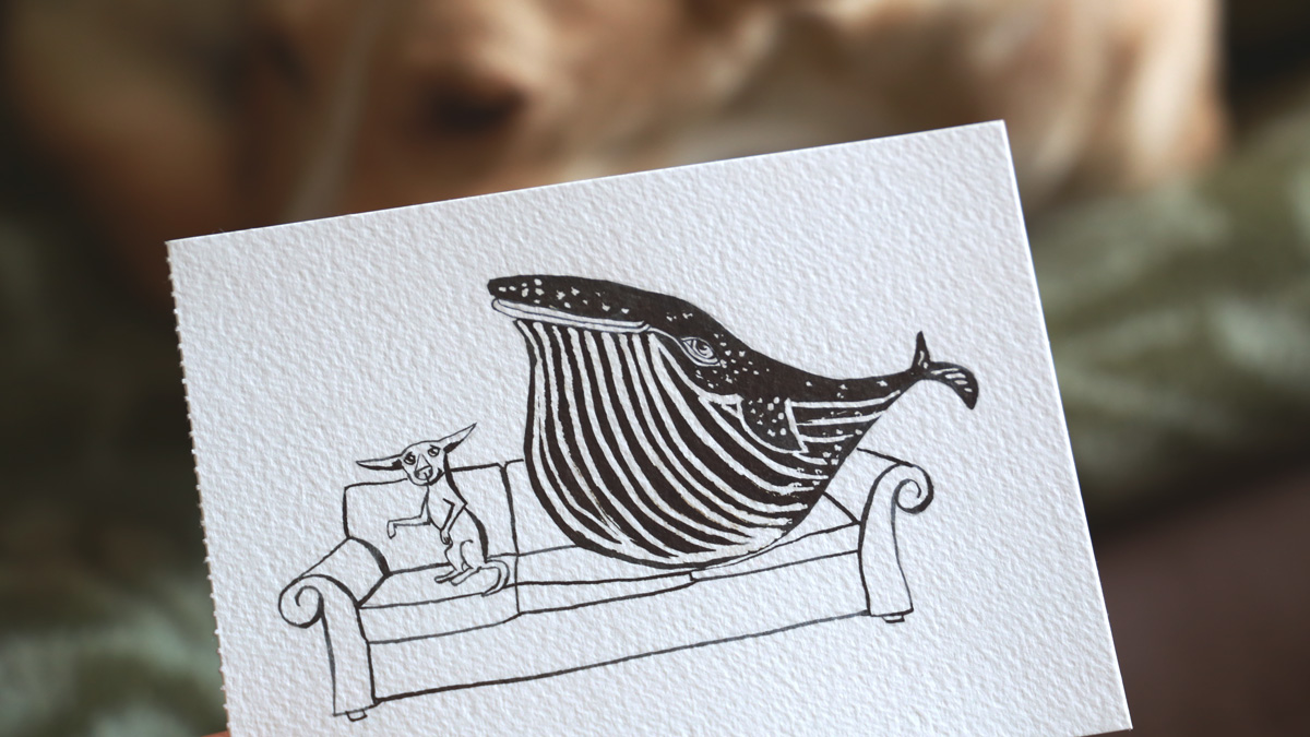 The dog and the whale. Ilustración del perro y la ballena